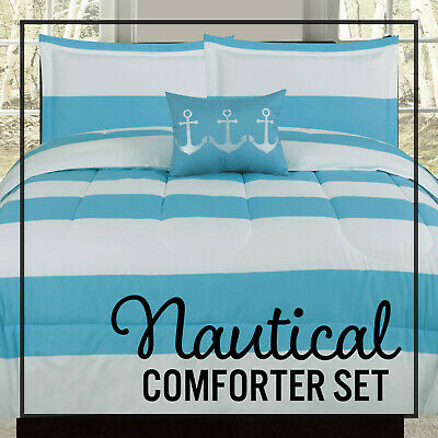 Twin Full/Queen or King Comforter Blue White Nautical Anchor Stripe Bedding Set Blue White Bedding