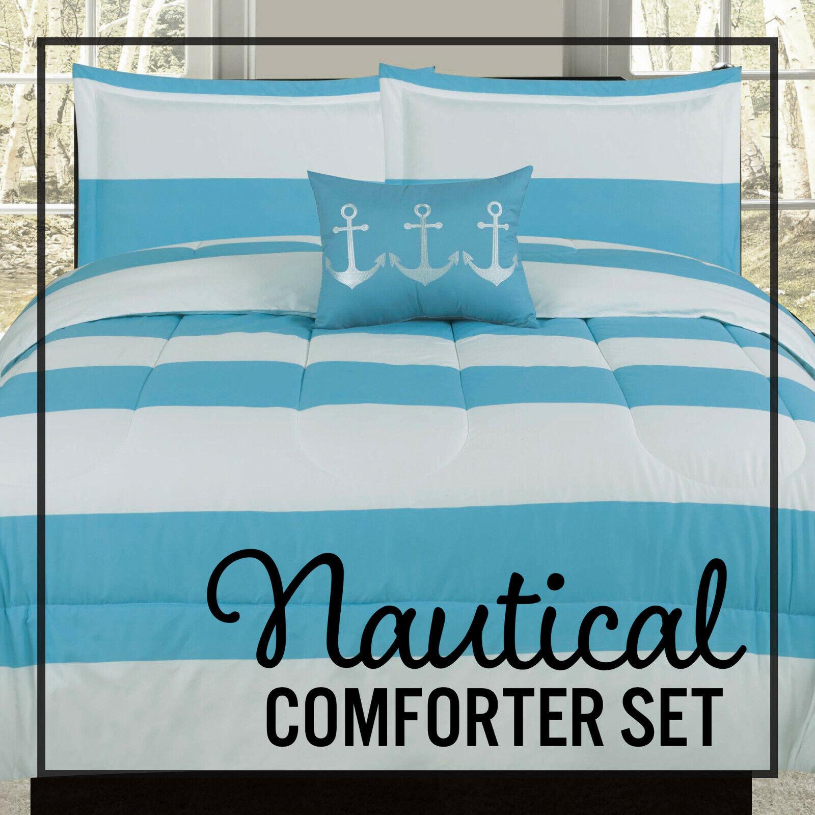 Twin Full/Queen or King Comforter Blue White Nautical Anchor Stripe Bedding Set Bedding