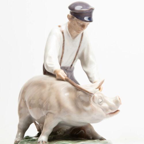 Royal Copenhagen Porcelain Figurine Swineherd Boy with Pig #848 E.B. Lattorff