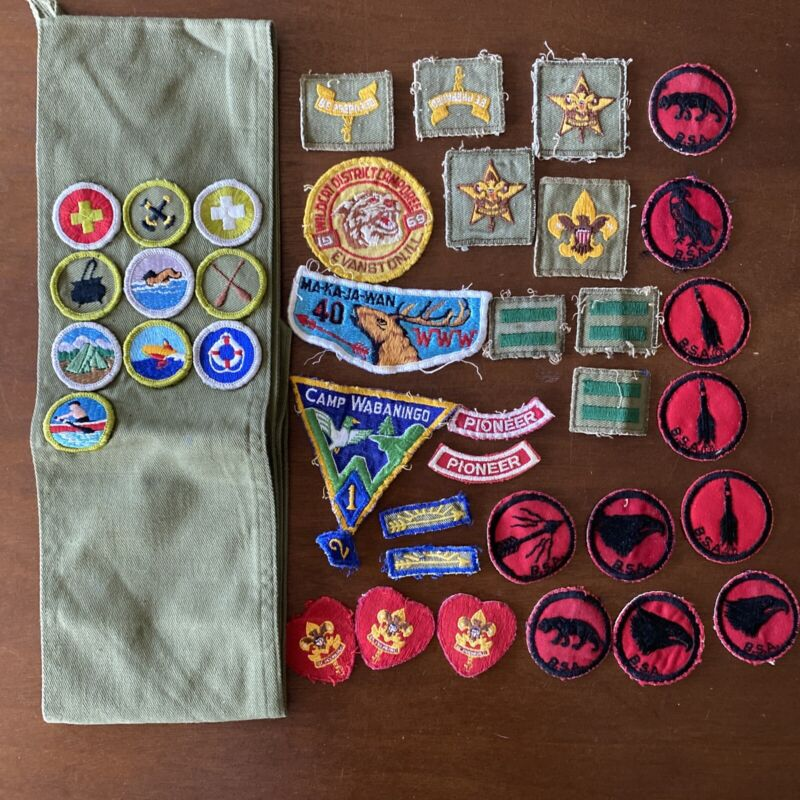 Vintage Boy Scouts of America Lot, Patches and Sash 60s 70s BSA Heart Wabaningo