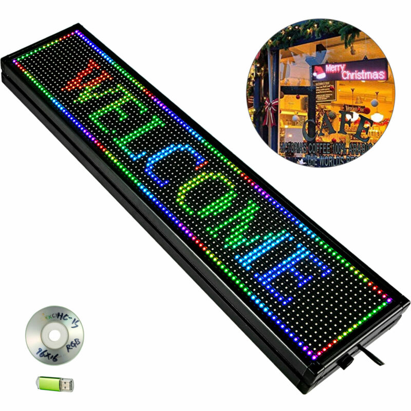 Led Sign Led Scrolling Sign 40 x 8 inch Seven-color Sign For Advertising