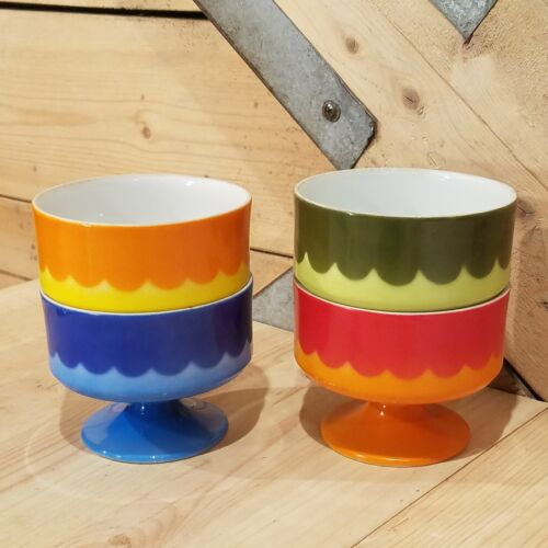 Set of 4 Glazed Two Tone Ombre Shade Stacking Mugs Cups Japan Vtg - Swanky Barn