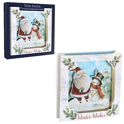 Tom Smith Luxury Handcrafted Pack of 5 Boxed Christmas Cards - Santa and Snowman ()