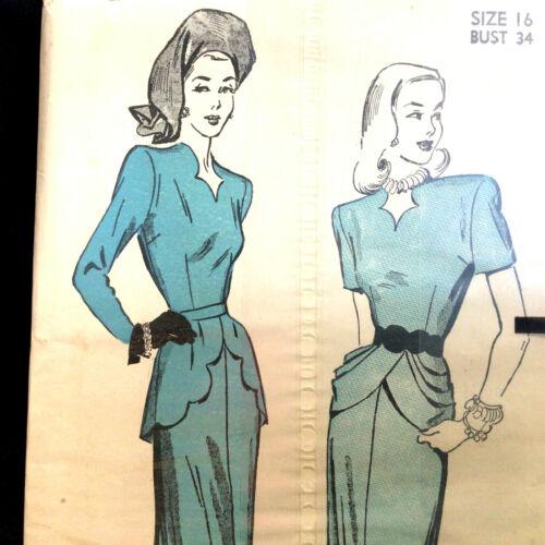 Dress w Scalloped Peplum & Neckline Size 16 Vtg Sewing Pattern Advance 4743