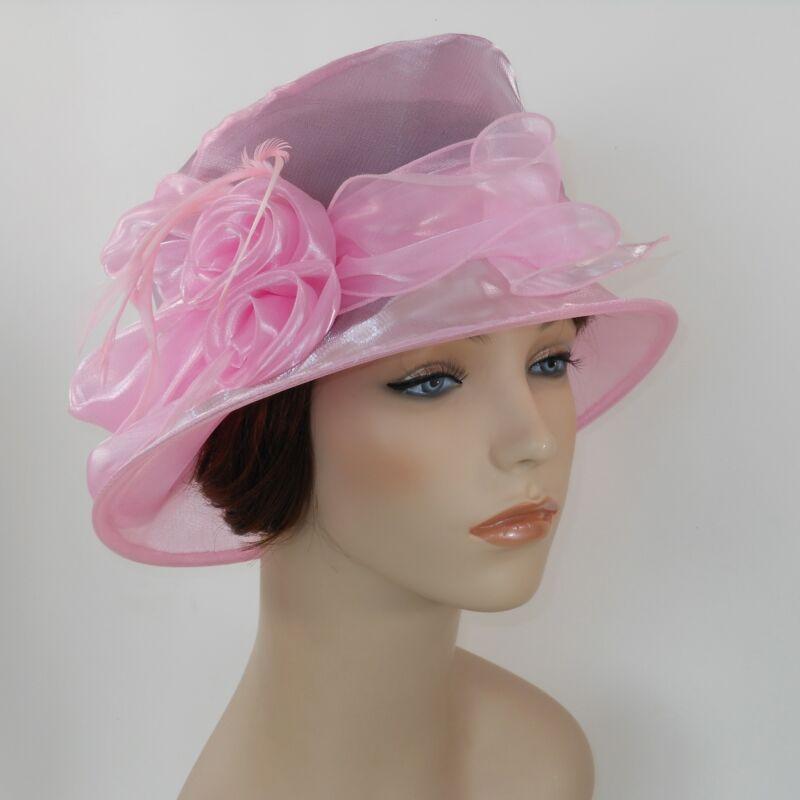 New Woman Church Hat Kentucky Derby Hat Organza Bucket Dress Hat c1415 Pink