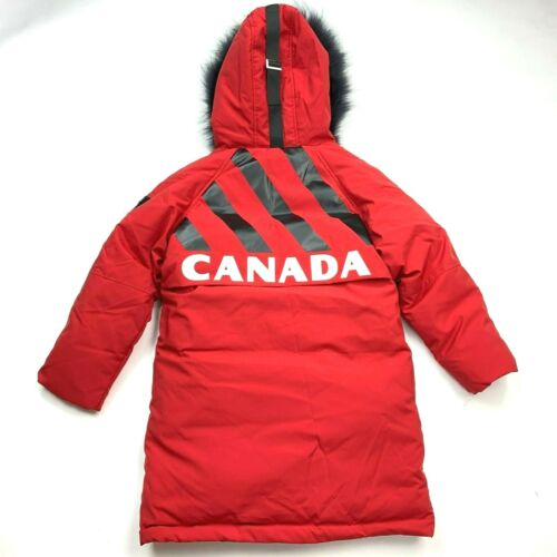 Xuebolai Down Jacket Fur Hood Red Canada Spellout Coat Girl Boy 130 7 8 9 NWT