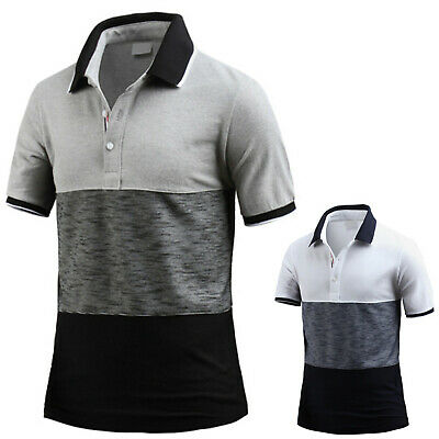 Mens Good Matching Short Sleeve Pique Collar Polo Casual T-Shirts Tops W20 S-L ()