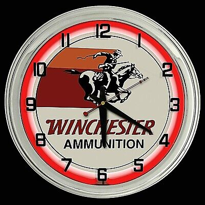 "16"" Winchester Ammunition Sign Neon Clock Red Neon Chrome Case"