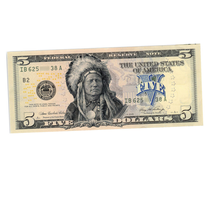 Collectible Native American Chief 5 Dollar Banknote
