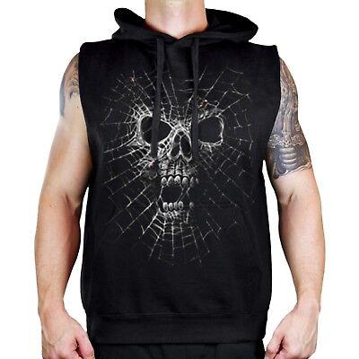 New Men's Black Widow Black Sleeveless Vest Hoodie Spider Skull Halloween Scary](Scary Black Widow Spider)