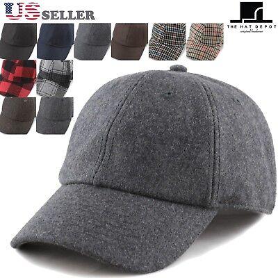 Men Women Wool Blend Plaid Baseball Cap Hat  Plaid Wool Cap