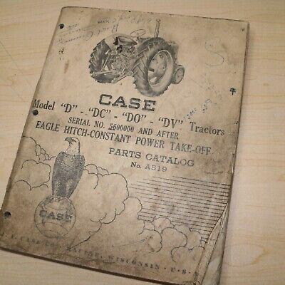 Case D Dc Do Dv Series Tractor Parts Manual Book Catalog List Spare Farm A519