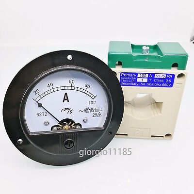 US Stock AC 0~100A Analog AMP Current Panel Meter Ammeter & Current Transformer ()