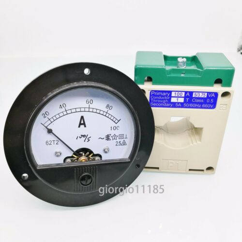 US Stock AC 0~100A Analog AMP Current Panel Meter Ammeter & Current Transformer