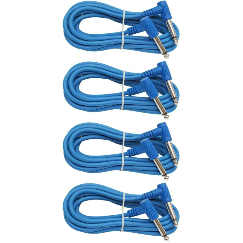 4 PACK BLUE 1/4 to 1/4 right angle instrument bass keyboard patch cable 6ft foot