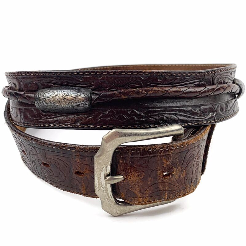 """Vtg Mens Brown Tooled Leather Braided Strap Silver Concho Belt Western Sz 40"""""""
