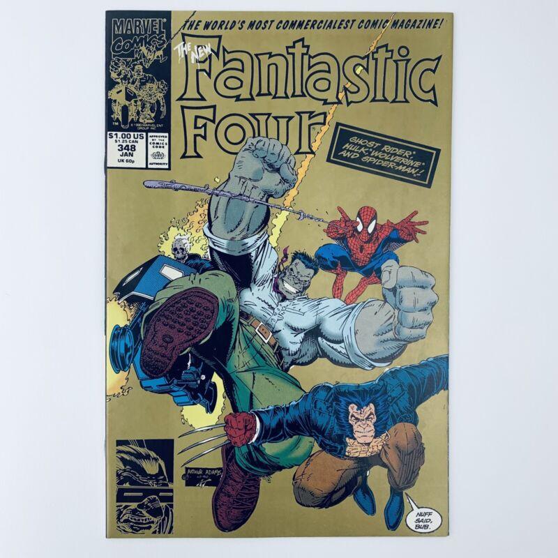 FANTASTIC FOUR #348 - Gold 2nd Print - Rare - Marvel Comics 1991 - VF/NM!!!