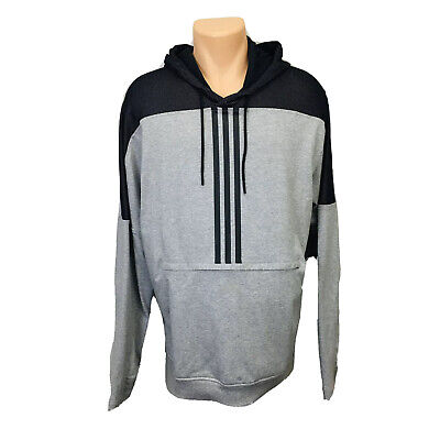 Adidas Pullover Hoodie Sweater (Men's Size XL) Gray Black