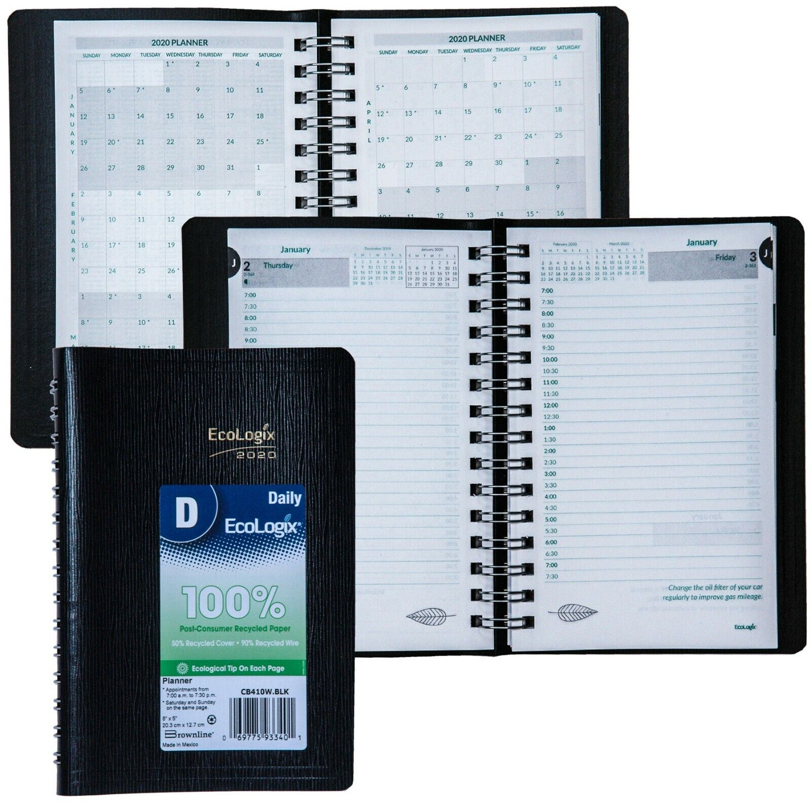 2020 Brownline EcoLogix CB410W.BLK Daily Planner, 8 x 5""