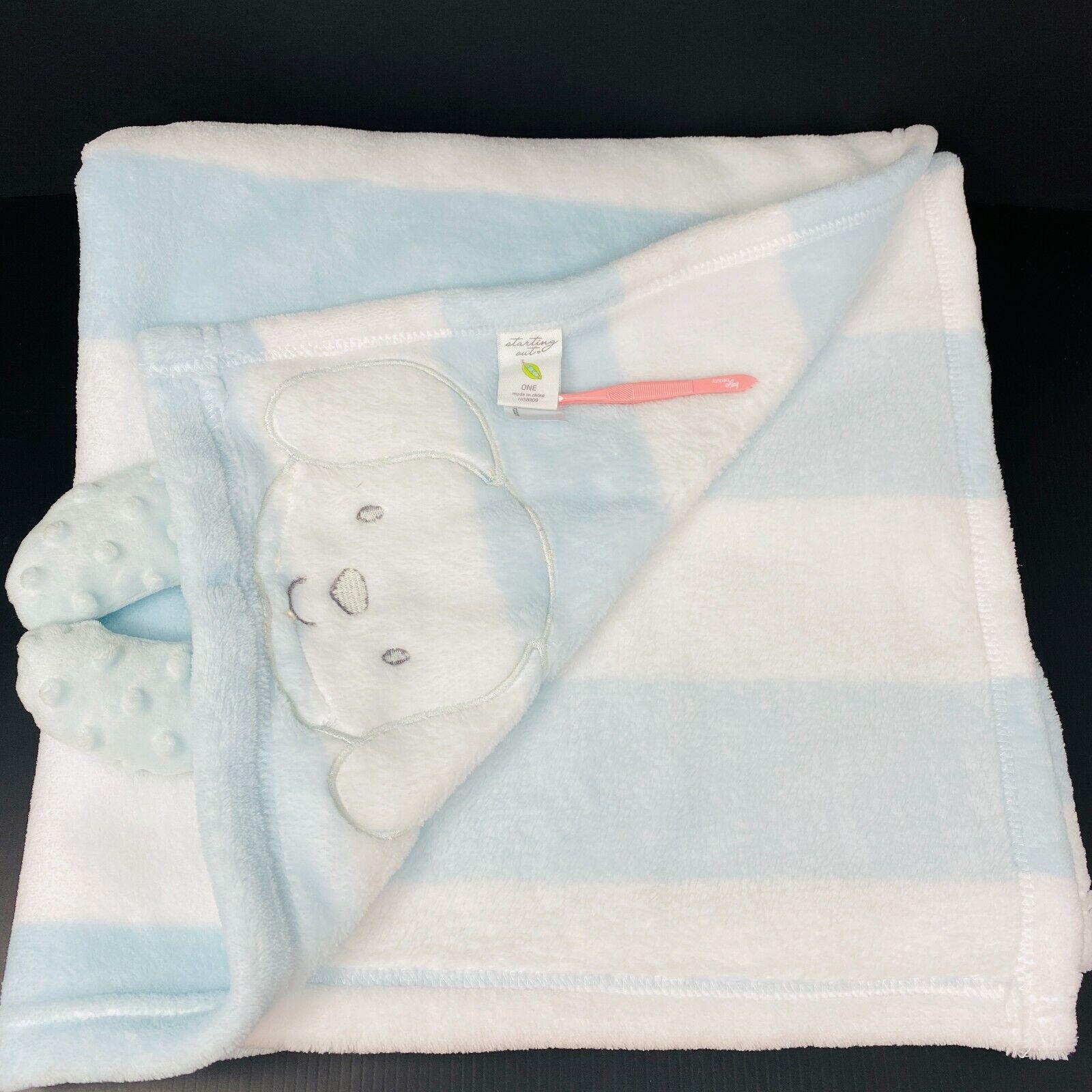 Starting Out Baby Blanket Blue White Stripe Dog Minky Dot 3D Arm Crinkle Dillard - $52.79