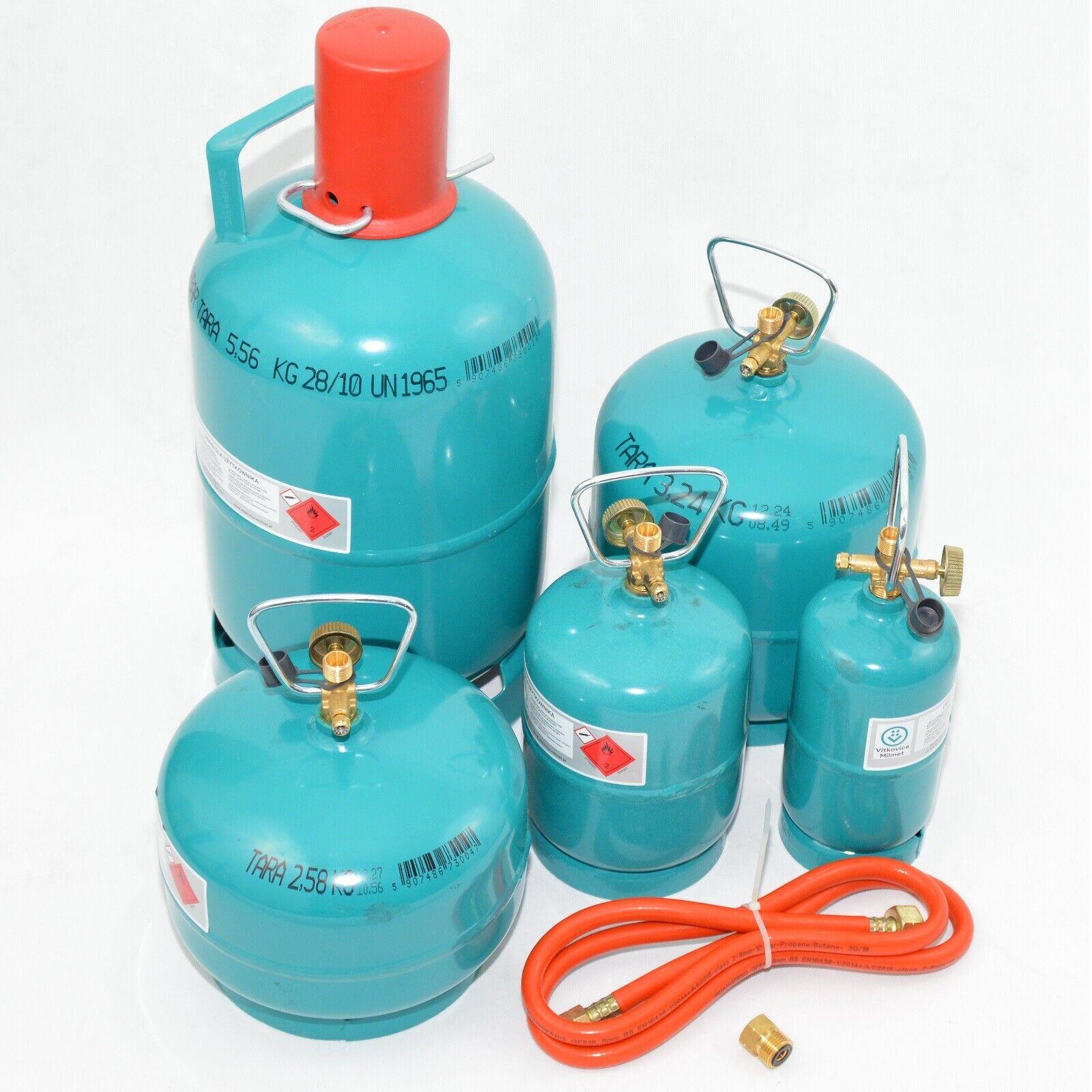 Leere befüllbare Gasflasche Propan Butan Grill Camping Umfüllschlauch 0.5 - 5kg