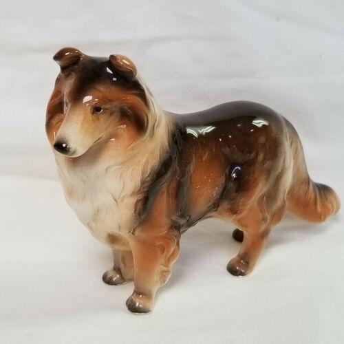 Vintage Art Pottery Collie Dog Figurine Made In Japan