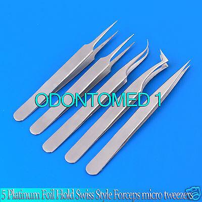 5 Pcs Swiss Jeweler Style Precision Micro Forceps Tweezers Set