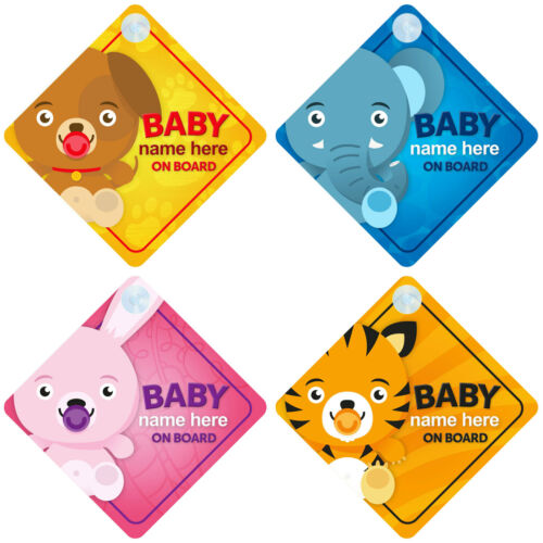 Personalised Animal Themed Baby on Board Car Signs - Choice of Designs Boy/Girl