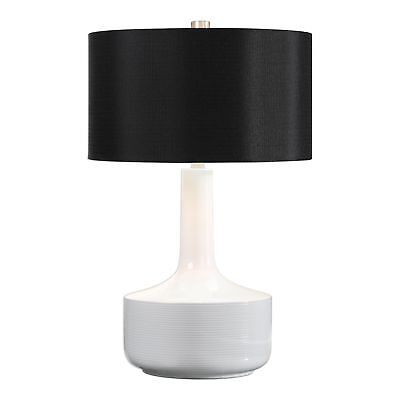 Black Gloss Table Lamp - Mid Century Modern Gloss White Black Table Lamp | Large Retro Curved