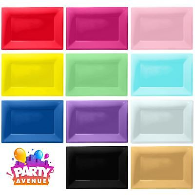3 Colour Plastic Serving Platters Tray 33cm x 23cm Buffet Party Tableware - Plastic Party Platters