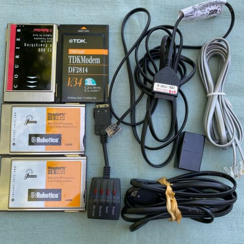 Lot 4 Vintage Computer PC Card Laptop Modem PCMCIA US Robotics TDK Courier V.34