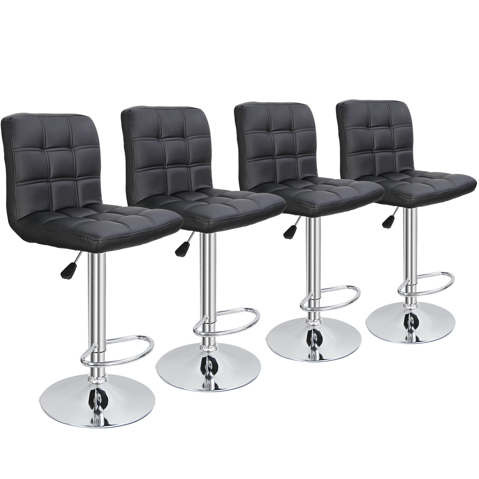 4PCS Adjustable Bar Stools PU Leather Modern Dinning Chair with Back Benches, Stools & Bar Stools