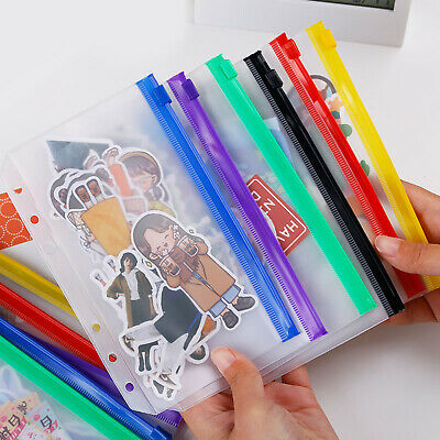 12 Pcs Binder Pockets A6 Size Multicolor Zipper Folders 6 Ring Notebook New Us