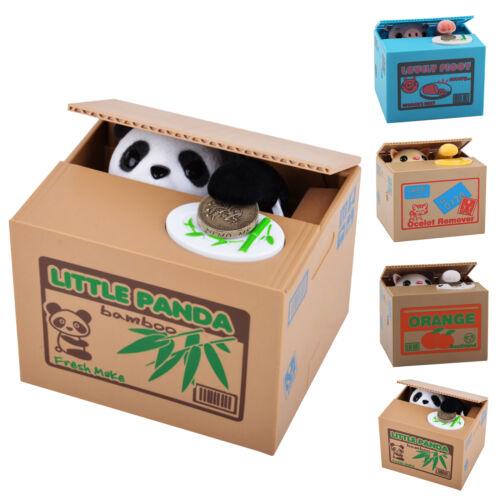 Panda Stealing Coin Money Cat Penny Cents Piggy Bank Saving Box Kids Gift UK