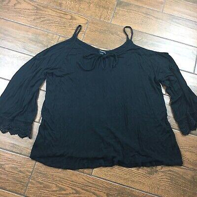 Crochet Spaghetti Strap - Torrid WOMENS 2 Black Spaghetti Strap Crochet Cold Shoulder Bell Sleeve Blouse