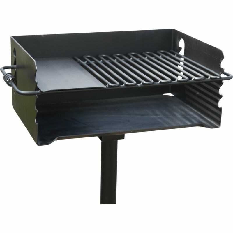 Jumbo Single Post Park Charcoal/ Wood Steel Cooking BBQ Picnic Camping Grill