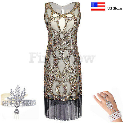 1920s Flapper Dress Great Gatsby Party Prom Gown Art Deco Sequins Fringe Dresses