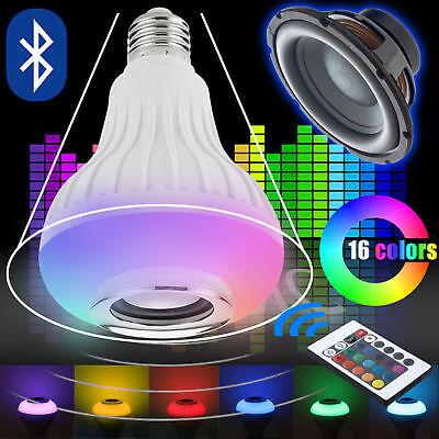 LED RGB Color Bulb Light E27 Bluetooth Control Smart Music Audio Speaker Lamps