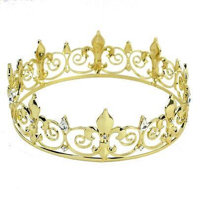 New! Men's Imperial Medieval Fleur Gold King De Lis Crown 16.5cm Diameter - Medieval Crowns