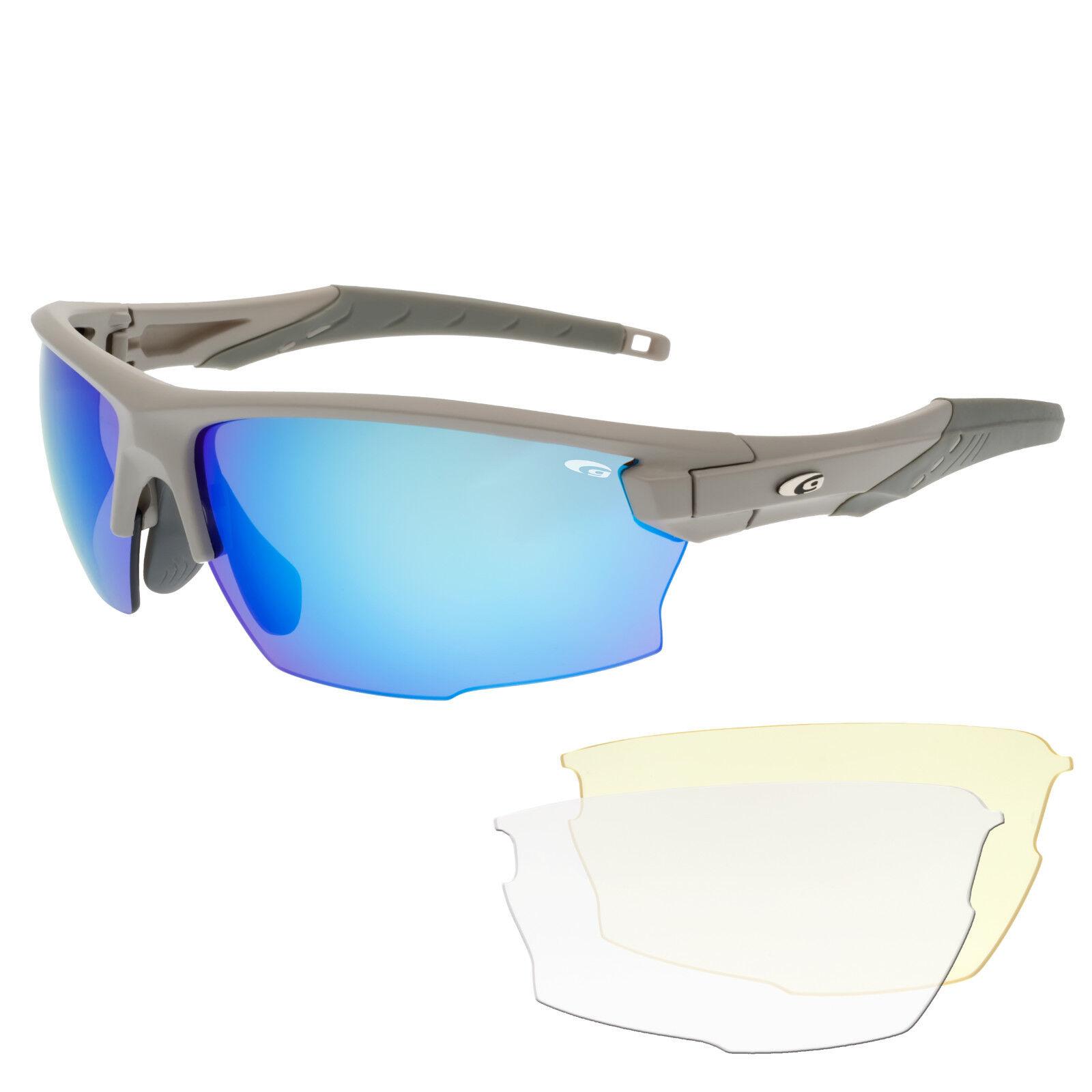 Radbrille Sportbrille Fahrradbrille blau verspiegelt Wechselscheiben klare gelbe