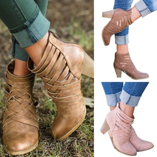 Damen Blockabsatz Stiefel Pumps Ankle Boots Schnalle Niedrig Stiefeletten Schuhe