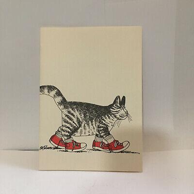 VINTAGE RED SNEAKERS KLIBAN CAT GREETING CARD 1979 HARD TO FIND NOS