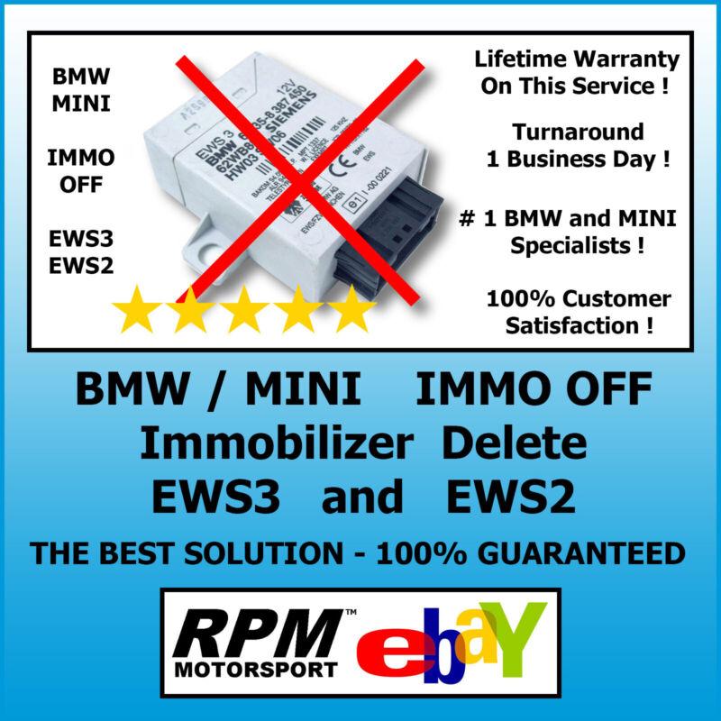BMW MINI Immobilizer Delete Bypass IMMO OFF EWS3 EWS2 EWS 100% / RPM Motorsport
