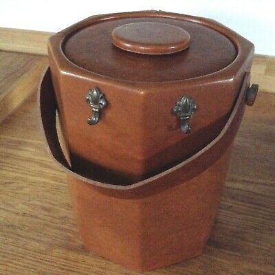 Vintage Kraftware NYC 5th avenue OCTAGONAL Ice Bucket Faux Leather