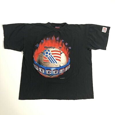 Magic Johnson T's Vintage Black 1994 World Cup USA Soccer Shirt Mens XLarge XL image