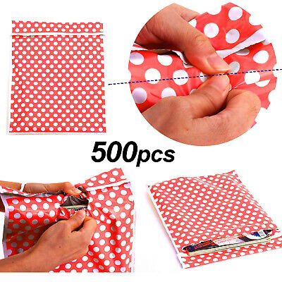 500 Plastic Mailing Postal Bag Self Seal Packing Packaging Postage 14x19 Red