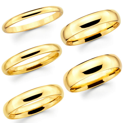 Solid 10K Yellow Gold 2mm 3mm 4mm 5mm 6mm Comfort Fit MenWomen Wedding Band Ring