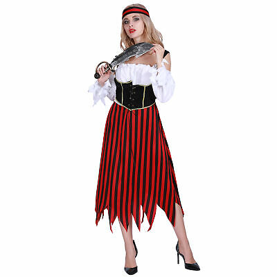 Adult Pirate Wench Costume Women Halloween Cosplay Party Outfit Fancy Dress