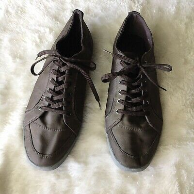 Zara Man Mens Size 10 Brown Coated Flat Lace Up Sneakers Casual