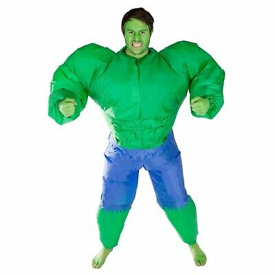 Adult Inflatable Hulk Green Muscle Man Costume Outfit Suit Halloween One Size - Green Suit Halloween Costume